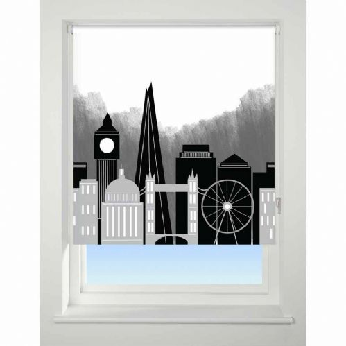 Universal Patterned Blackout Roller Blind - London Skyline